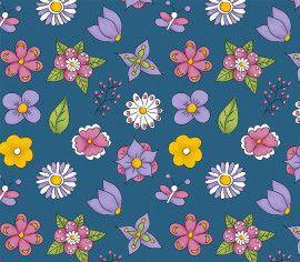 TECIDO 100% ALGODÃO FABRICART- FOFURICES-  MINI FLOWER AZUL- PREÇO DE 0.50 x 1,50