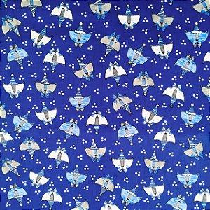 TECIDO 100% ALGODÃO-CALDEIRAS-CAT FUNDO AZUL ESCURO - PREÇO DE 0.50 x 1,50