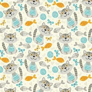 TECIDO 100% ALGODÃO FABRICART- CAT LOVERS - CAT 10 - PREÇO DE 0.50 x 1,50