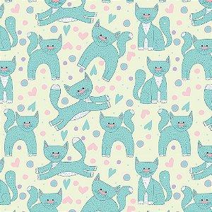 TECIDO 100% ALGODÃO FABRICART- CAT LOVERS - CAT 11 - PREÇO DE 0.50 x 1,50