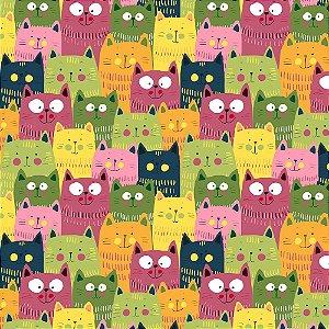 TECIDO 100% ALGODÃO FABRICART- CAT LOVERS - CAT 13 - PREÇO DE 0.50 x 1,50