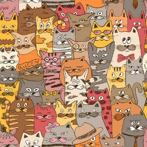 TECIDO 100% ALGODÃO FABRICART- CAT LOVERS - CAT 01 - PREÇO DE 0.50 x 1,50