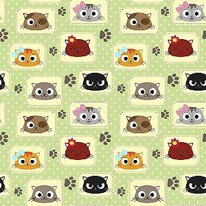 TECIDO 100% ALGODÃO FABRICART- CAT LOVERS - CAT 03 - PREÇO DE 0.50 x 1,50