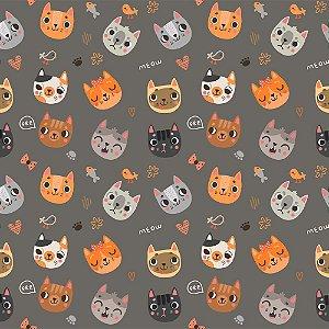 TECIDO 100% ALGODÃO FABRICART- CAT LOVERS - CAT 02 - PREÇO DE 0.50 x 1,50