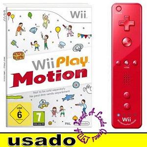 Conjunto Controle Wiimote Motion Plus Vermelho + Capa de Silicone + Wii Play Motion [Europeu] - Usado [sem caixa]