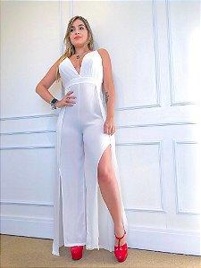 Macacão Longo Pantalona Branco Decotado com Alcinha