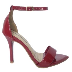 Sandália Salto Alto Vermelha Bico Folha Jéssica
