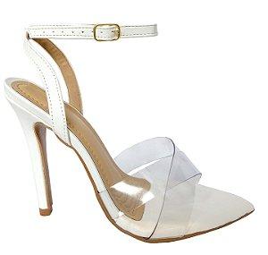 Sandália Salto Alto Branca Bico Folha e Tira Dupla Vinil