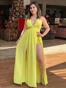 Vestido Longo Amarelo Decotado com Fendas