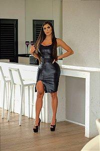 Vestido Midi Preto de Cirre Tipo Couro com Fenda e Cinto Luxo