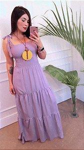 vestido lilas lastex longo