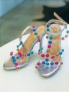 Sandália salto agulha transparência com bolinhas