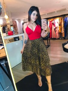 Saia Midi Tule Animal Print