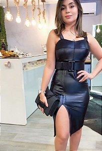 Vestido Cirre com Cinto Preto