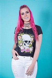 Camiseta Feminina Caveira Flores