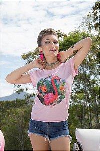 Camiseta Feminina Flamingo Abacaxi