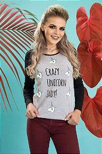 Camiseta Feminina Manga Longa Raglan Crazy Unicorn