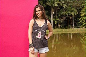 Camiseta Feminina Regata Alça Fina Bordado Summer Dreamer