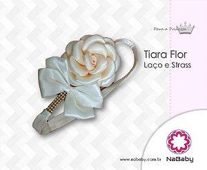 Tiara Flor Laço e Strass