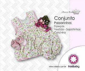 Conjunto Passarinhos 3 peças Vestido - Sapatinhos - Calcinha