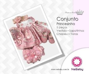 Conjunto Princesinha 5 Peças - Vestido - Sapatinhos - Chapéu - Tiaras