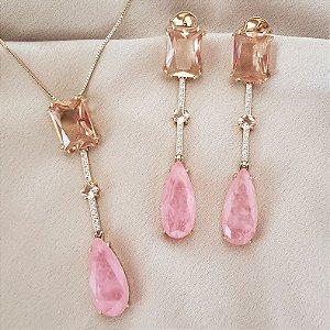 Colar e brincos Pink Fusion e Morganita