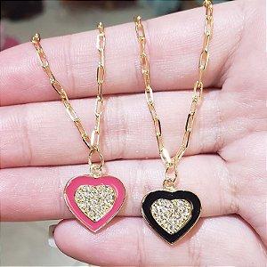 Colar Coração Esmaltado Ouro 18k Folheado