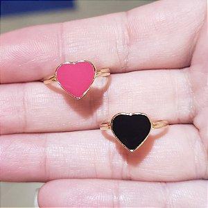 Anel Coração Esmaltado Ouro 18k