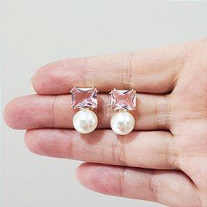 Brincos Rosa Cristal e Pérolas