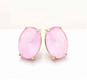 Brinco oval rosa