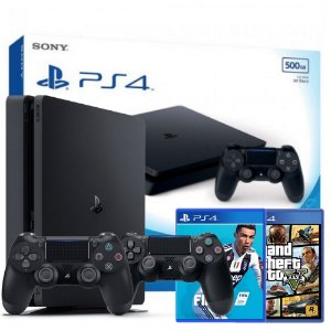 Playstation 4 SLIM 500GB c/ 2 controles, 2 jogos FIFA 19 e GTA 5