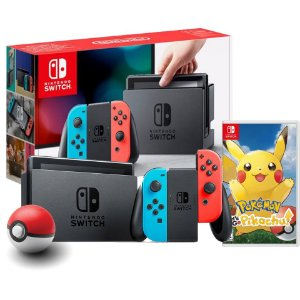 Nintendo Switch NEON + Pokeball Plus + Pokémon Let's Go Pikachu
