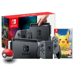 Nintendo Switch Preto + Pokeball plus + Pokémon Let's Go Pikachu