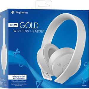 Headset Gold 7.1 Branco Wireless Stereo Sony Ps4/Ps3/Ps Vita