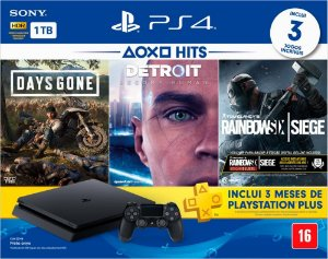 Playstation 4 SLIM CUH 2215B 1TB HDR + 3 Jogos + PLUS 3 meses bundle novo