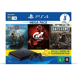 Playstation 4 SLIM 1TB  + 3 Jogos + PLUS 3 meses