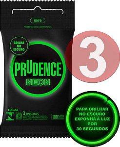 KIT03 - Preservativo camisinha prudence neon brilha no escuro - fosforescente - 3uni