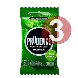 KIT03 - Preservativo camisinha prudence sabor hortelã - 3uni