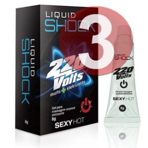 KIT03 - Liquid shock 220 volts vibrador líquido - 8gr
