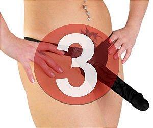 KIT03 - Cinta com pênis strapon na cor preta 17.5 x 4 cm