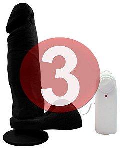 KIT03 - Pênis realístico na cor preta  20 x 4.5 cm