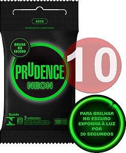 KIT10 - Preservativo camisinha prudence neon brilha no escuro - fosforescente