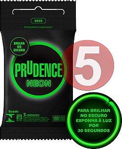 KIT05 - Preservativo camisinha prudence neon brilha no escuro - fosforescente - 3uni