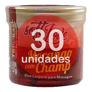KIT30 - BOLINHA DO SEXO - COMESTÍVEL MORANGO C/ CHAMPAGNE HOT (FUNÇÃO DE AQUECIMENTO)