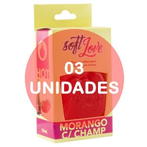KIT03 - Gel comestível hot 30ml - morango c/ champ.