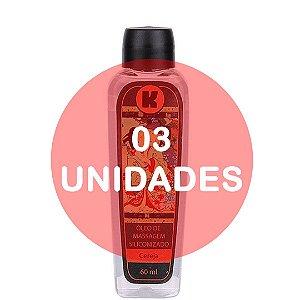 KIT03 - Óleo de massagem siliconizado provoca leve aquecimento relaxante - 60ml - fragrância cereja