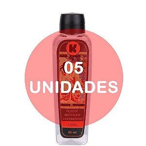 KIT05 - Óleo de massagem siliconizado provoca leve aquecimento relaxante - 60ml - fragrância cereja