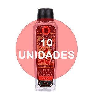 KIT10 - Óleo de massagem siliconizado provoca leve aquecimento relaxante - 60ml - fragrância cereja