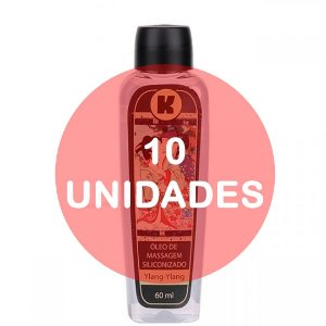 KIT10 - Óleo de massagem siliconizado - 60ml - fragrância ylang ylang