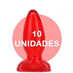 KIT10 - Plug anal vermelho 10x3.5cm
